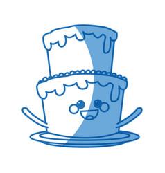 kawaii cake cream sweet bakery happy vector image vector image