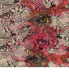pattern of the music on watercolor background vector image