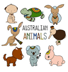 australian animals colorful on vector image vector image