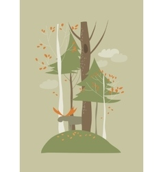 Autumn landscape with trees and elk vector image