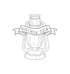 Oil Lamp Vintage Sea And Nautical Symbol Hand vector image vector image