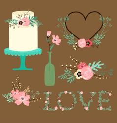 Rustic floral wedding clip art vector