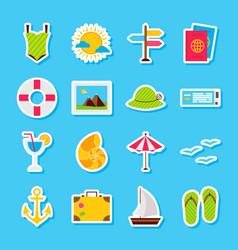 Summer travel stickers vector