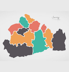 Surrey england map with states and modern round vector