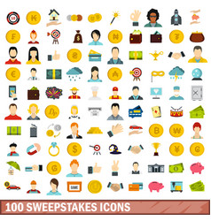 100 sweepstakes icons set flat style vector image