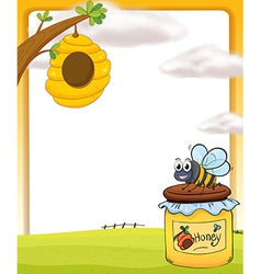 A honey bee and a bottle vector