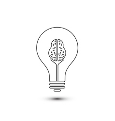 Abstract outline brain light bulb vector