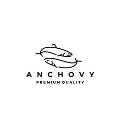anchovy fish logo icon seafood vector image