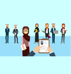 Arab curriculum vitae recruitment candidate job vector