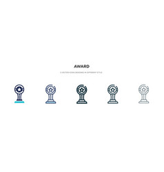 Award icon in different style two colored and vector