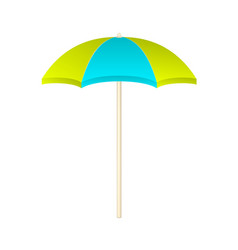 Beach umbrella in light green and light blue vector