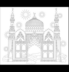Black and white page for coloring fantastic arab vector