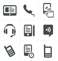 Black phone icons set on gray vector
