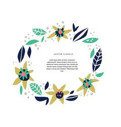 botanic text circle hand drawn template vector image