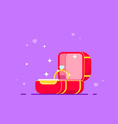 Box with engagement ring vector