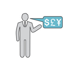 businessman icon grey and blue on white background vector image