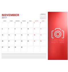 Calendar planner template for november 2017 week vector