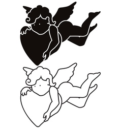 Cartoon angel silhouette and outline vector image