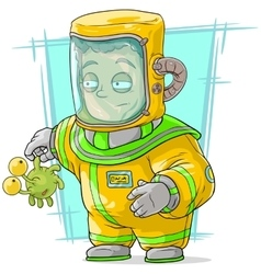 Cartoon man in protective suit with alien vector image