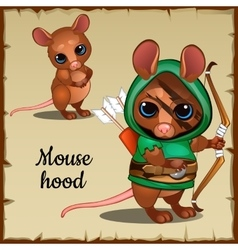 Caute mouse in a green suit and weapons vector
