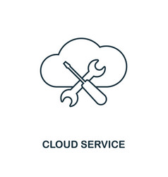 cloud service outline icon thin line style from vector image