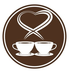 Coffee cups with steam in heart shape vector