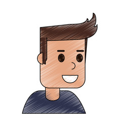 Color pencil cartoon side view half body guy with vector