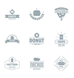 Convenience food logo set simple style vector