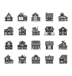 Cottage house black silhouette icons set vector