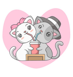 Cute couple cats drinking together vector