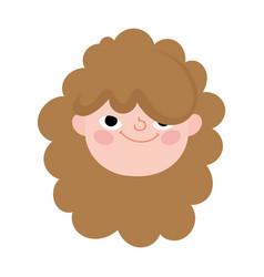 Cute little girl face character cartoon icon vector