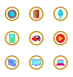 Digital device icons set cartoon style vector