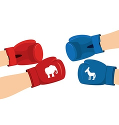Elephant and Donkey boxing gloves Symbols of USA vector
