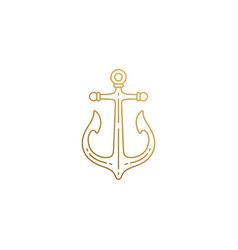 emblem ship anchor hand drawn with thin vector image