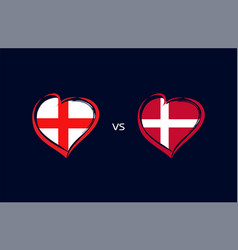 england vs denmark flags in heart emblem vector image