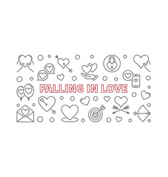 Falling in love horizontal in vector