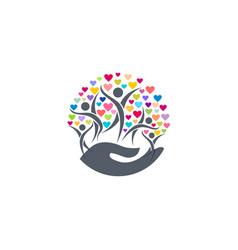 Family hearts parenting hand logo icon symbol vector