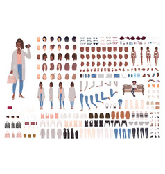 Fashionable girl creation set or diy kit vector