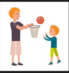 Father playing basketball with his adorable son vector