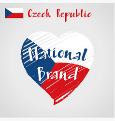 flag heart of czech republic national vector image