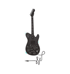 Flat black electric guitar icon isolated vector