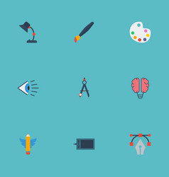 Flat icons eye bulb brush and other vector