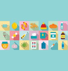 flu sick icon set flat style vector image