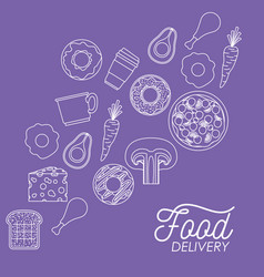 Food delivery poster in purple background with vector