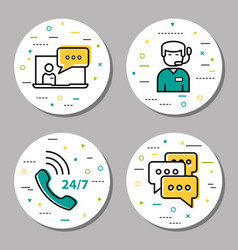 four round online support linear icons vector image