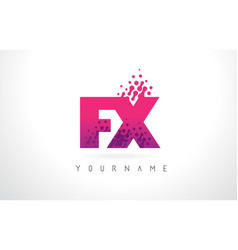 Fx f x letter logo with pink purple color and vector