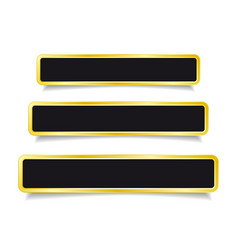 Golden banner button set on white background vector
