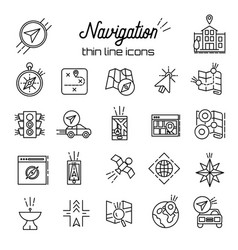 gps icon map and navigation thin line icons vector image