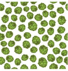 Green artichoke seamless pattern vector