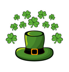 green hat accessory st patrick with clovers vector image